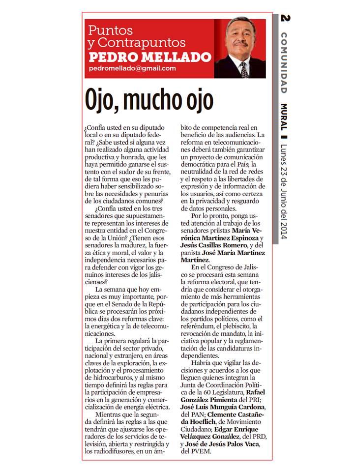 PUNTOS, LUNES 23 DE JUNIO DEL 2014, OJO, MUCHO OJO CON TRABAJO DE LEGISLADORES, MURAL GRUPO REFORMA