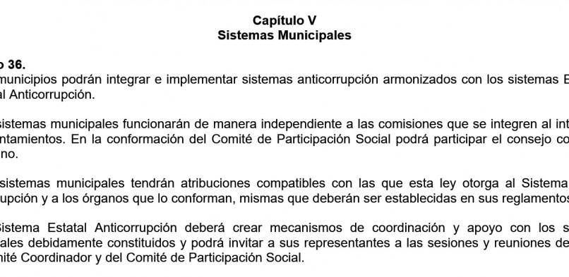 El municipio y el Sistema Anticorrupción